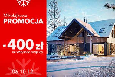 Mikołajkowa promocja | 400 zł rabatu na wszystkie projekty domów!