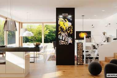 WNĘTRZA-INSPIRACJE – nowoczesny dom EX 20 ENERGO PLUS na wąską działkę