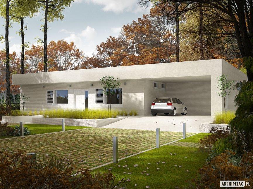 Wizualizacja projektu domu EX 6 (z wiatą) soft
