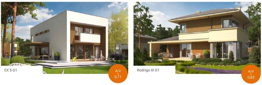 Domy piętrowe, podobnie jak domy z poddaszem uzytkowym, mają lepszy od domów parterowych stosunek A/V