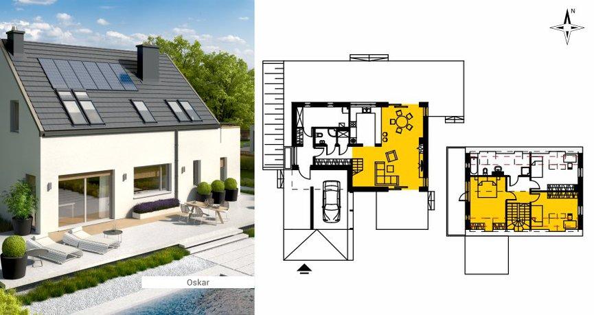 Przykład pokazuje idealny rozkład pomieszczeń dla domu na działkę z wjazdem od południa
