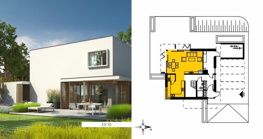 Przykład pokazuje idealny rozkład pomieszczeń dla domu na działkę z wjazdem od wschodu
