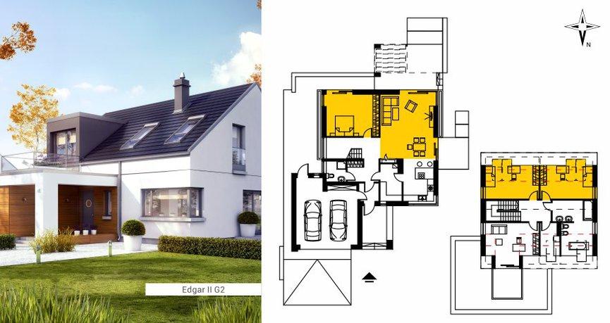 Przykład pokazuje idealny rozkład pomieszczeń dla domu na działkę z wjazdem od północy