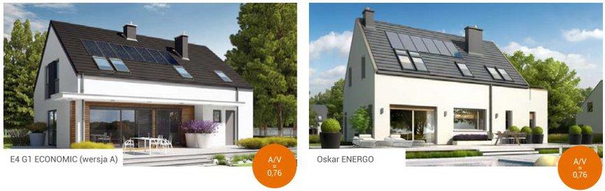 Domy z poddaszem użytkowym pod względem współczynnika A/V osiągają lepsze parametry niż domy parterowe