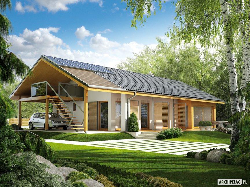 Wizualizacja projektu domu Eryk (z wiatą) 30 stopni