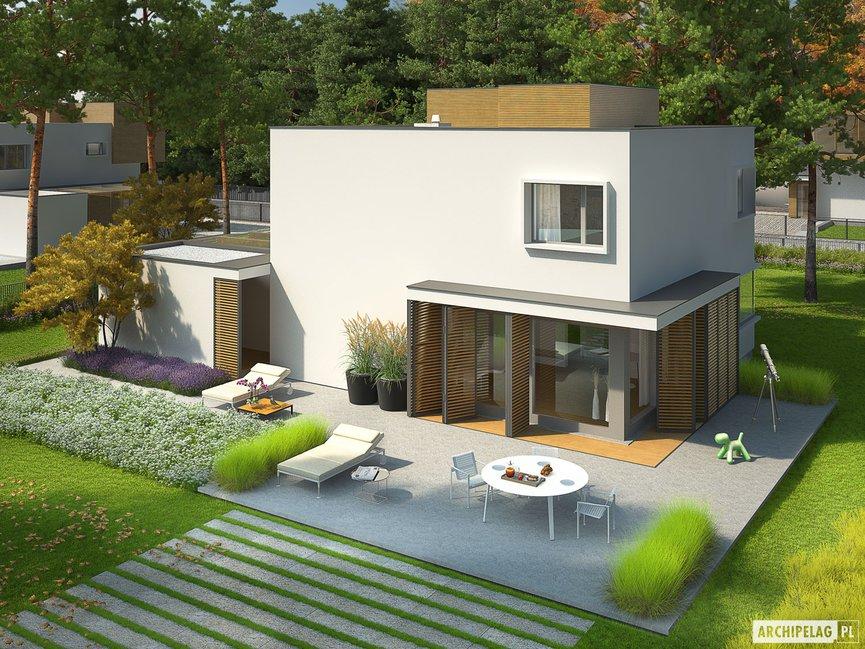 Wizualizacja projektu domu EX 10 II (z wiatą) soft