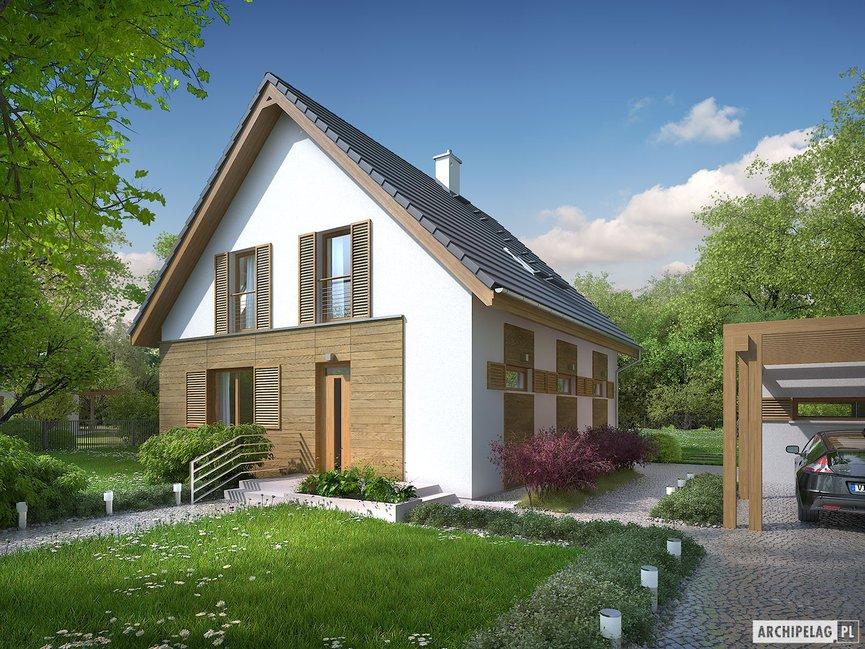 Wizualizacja projektu domu Julian (szkielet) z wiatą