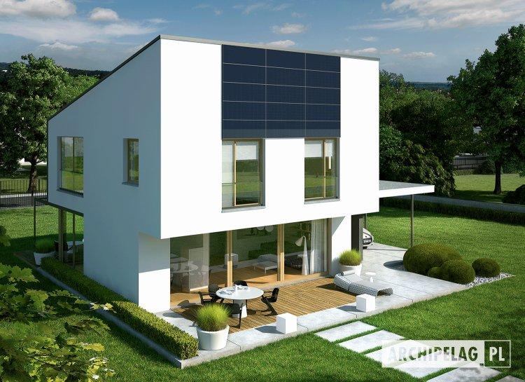 Szerokie przeszklenia na południowej elewacji | projekt domu EX 12 (z wiatą)