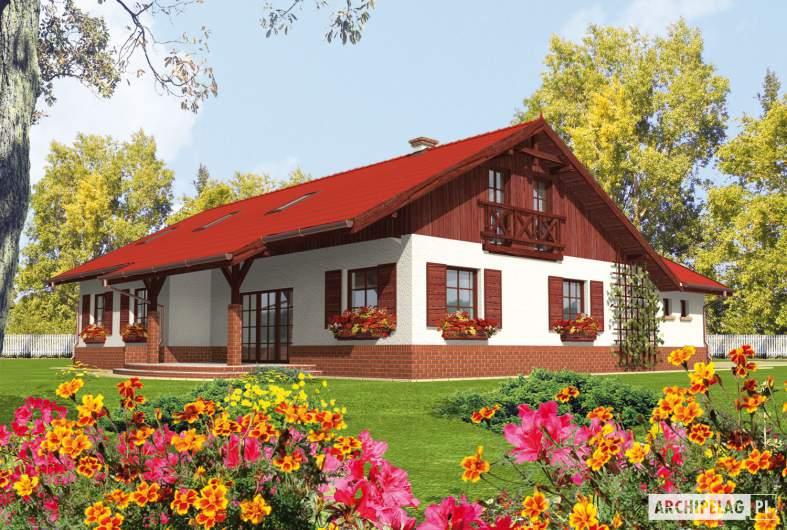 Projekt domu Rózia G1 - wizualizacja ogrodowa