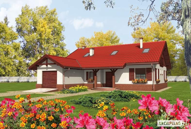 Projekt domu Rózia G1 - wizualizacja frontowa