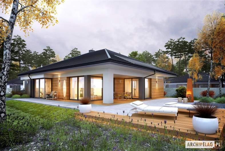 Projekt domu Tanita III G2 - wizualizacja ogrodowa nocna