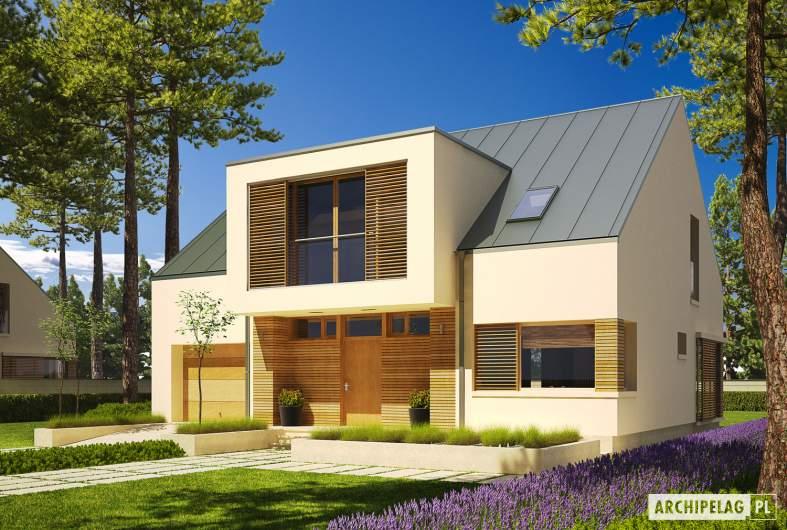 Projekt domu EX 9 G1 (wersja A) soft - wizualizacja frontowa