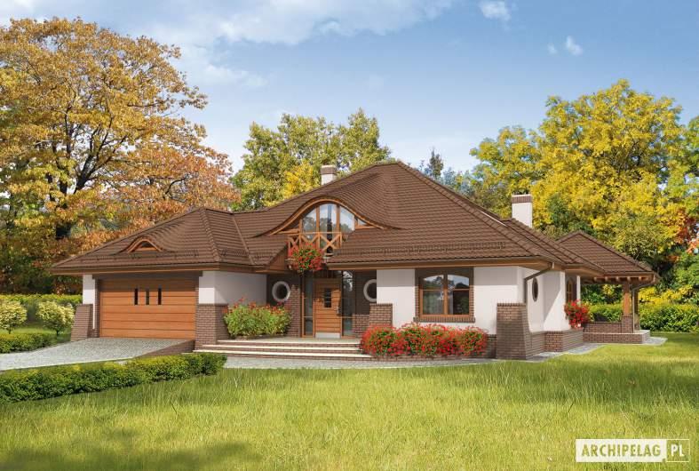 Projekt domu Seweryna G2 Mocca - wizualizacja frontowa