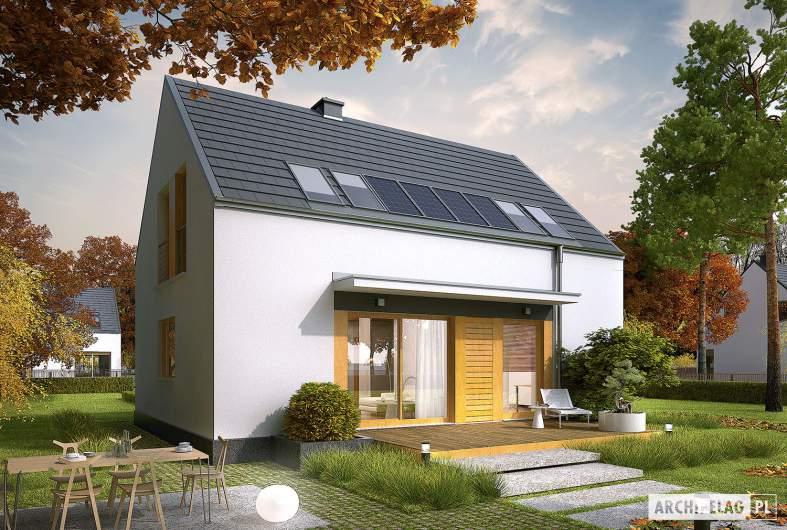 Projekt domu E12 ECONOMIC - wizualizacja ogrodowa nocna