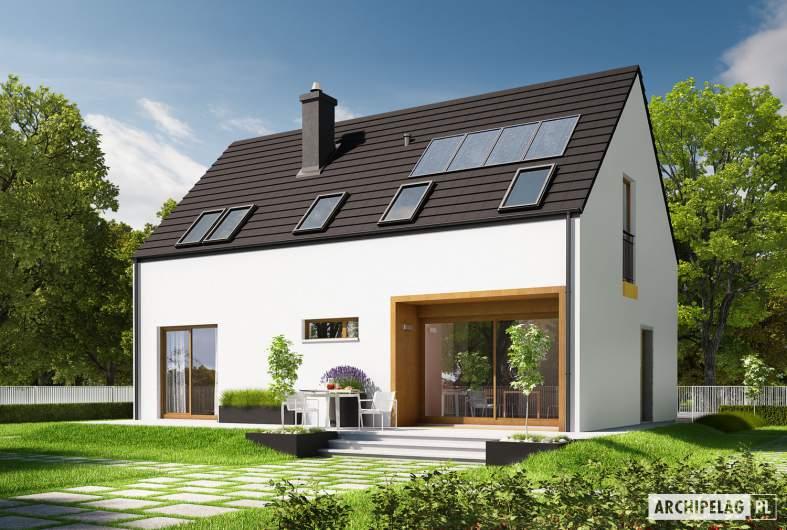 Projekt domu E2 ECONOMIC (wersja A) - wizualizacja ogrodowa