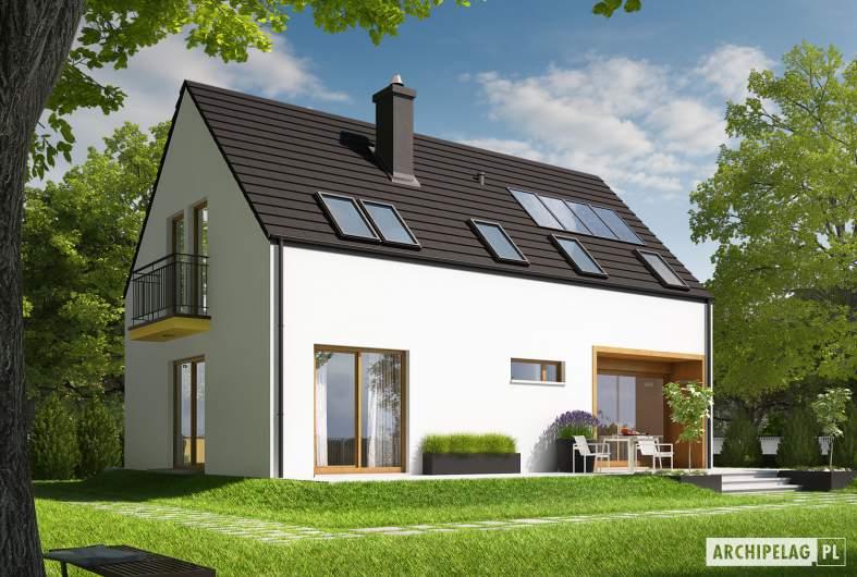 Projekt domu E2 ECONOMIC (wersja A) - wizualizacja ogrodowa lewa