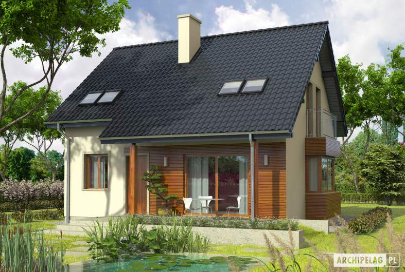 Projekt domu Robin - Projekty domów ARCHIPELAG - Robin - wizualizacja ogrodowa