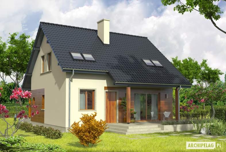 Projekt domu Robin - Projekty domów ARCHIPELAG - Robin - wizualizacja ogrodowa lewa