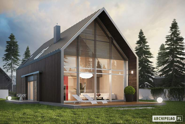 Projekt domu EX 13 soft - wizualizacja ogrodowa nocna
