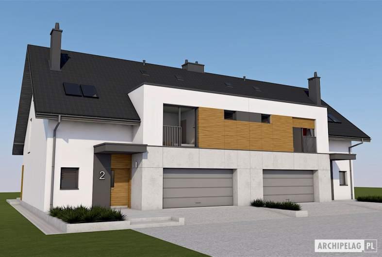 Projekt domu Wiktor G2 (bliźniak) - wizualizacja frontowa