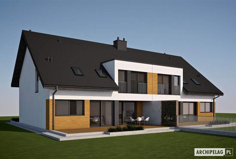 Projekt domu Wiktor G2 (bliźniak) - wizualizacja ogrodowa
