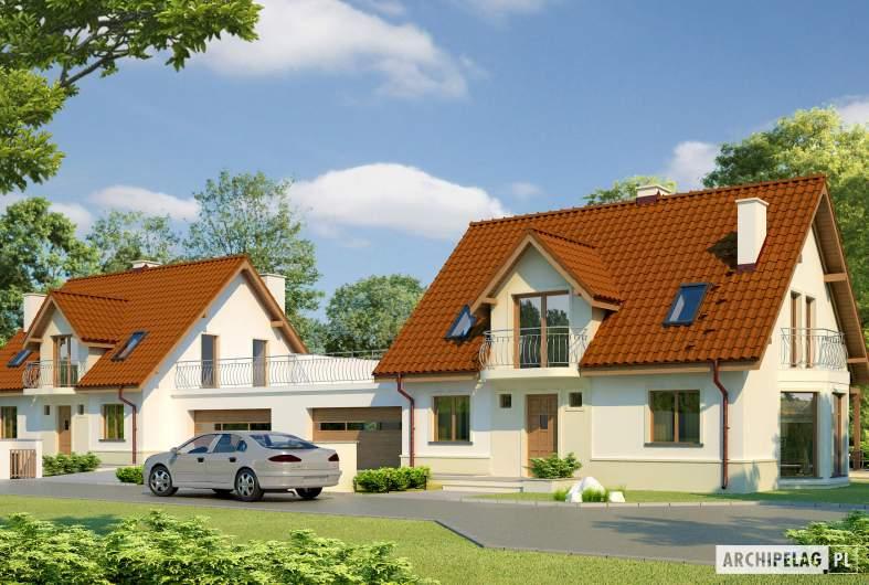 Projekt domu Kajka G1 Leca® DOM  - Projekty domów ARCHIPELAG - Kajka G1 - wizualizacja frontowa bliźniak