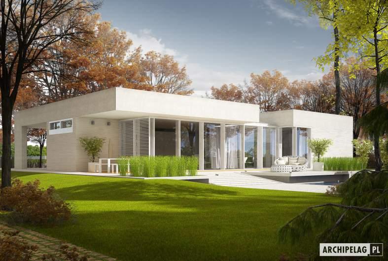 Projekt domu EX 6 (z wiatą) soft - Projekty domów ARCHIPELAG - EX 6 (z wiatą) soft - wizualizacja ogrodowa
