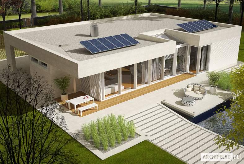 Projekt domu EX 6 (z wiatą) soft - Projekty domów ARCHIPELAG - EX 6 (z wiatą) soft - widok z góry