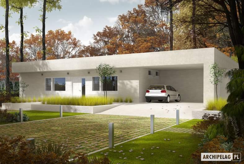 Projekt domu EX 6 (z wiatą) soft - Projekty domów ARCHIPELAG - EX 6 (z wiatą) soft - wizualizacja frontowa
