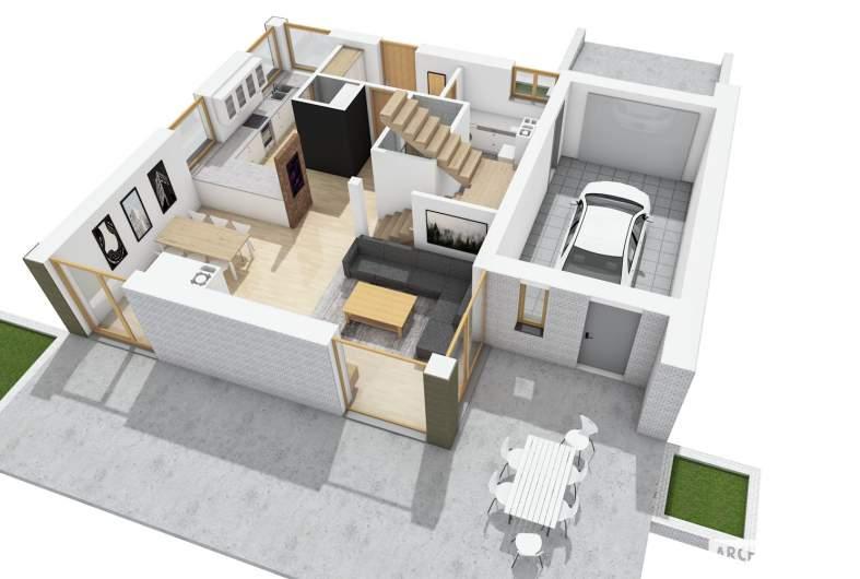 Projekt domu Mini 2 G1 - widok 3D parter