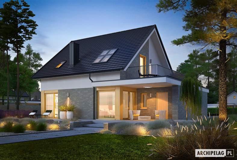 Projekt domu Mini 2 G1 - wizualizacja ogrodowa nocna