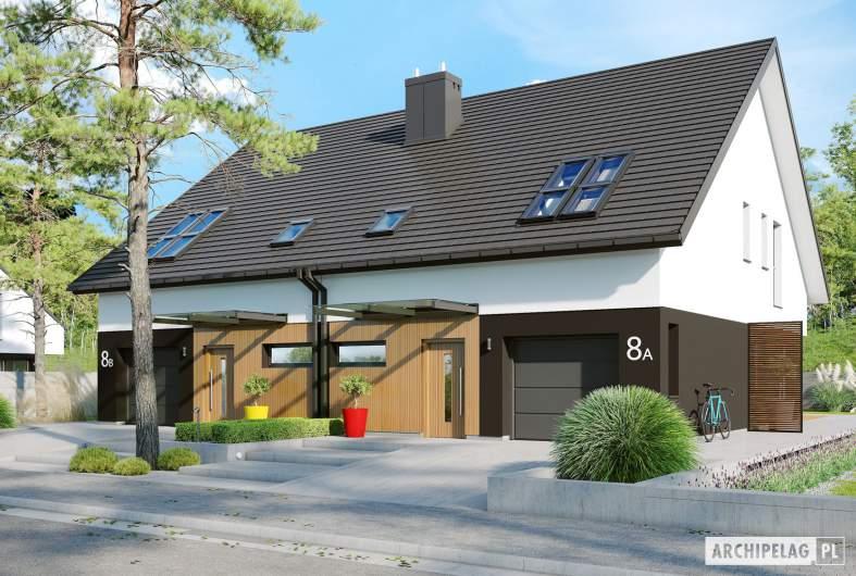 Projekt domu Lukas II G1 wersja B (bliźniak) - wizualizacja frontowa