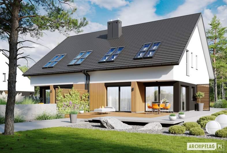 Projekt domu Lukas II G1 wersja B (bliźniak) - wizualizacja ogrodowa