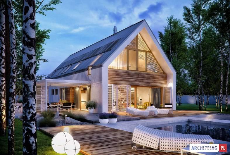 Projekt domu EX 19 II G2 ENERGO PLUS - wizualizacja ogrodowa nocna