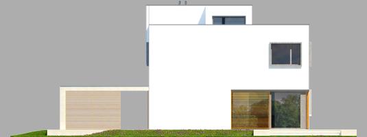 Екс 10 (Н, Енерго) - Projekt domu EX 10 (z wiatą) - elewacja tylna