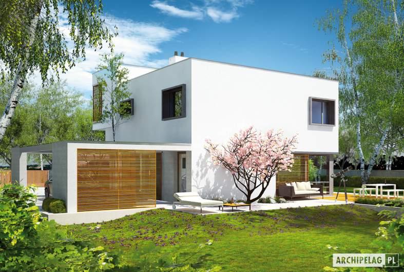 Projekt domu EX 10 (z wiatą) - wizualizacja ogrodowa lewa