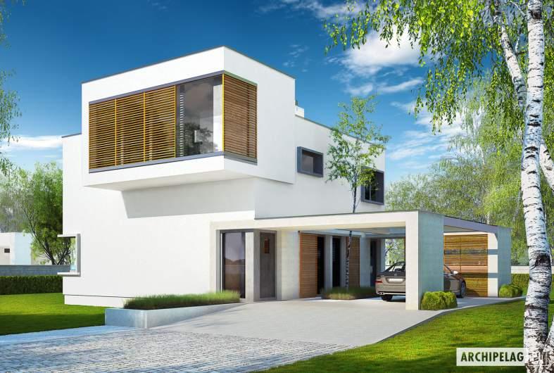 Projekt domu EX 10 (z wiatą) - wizualizacja frontowa