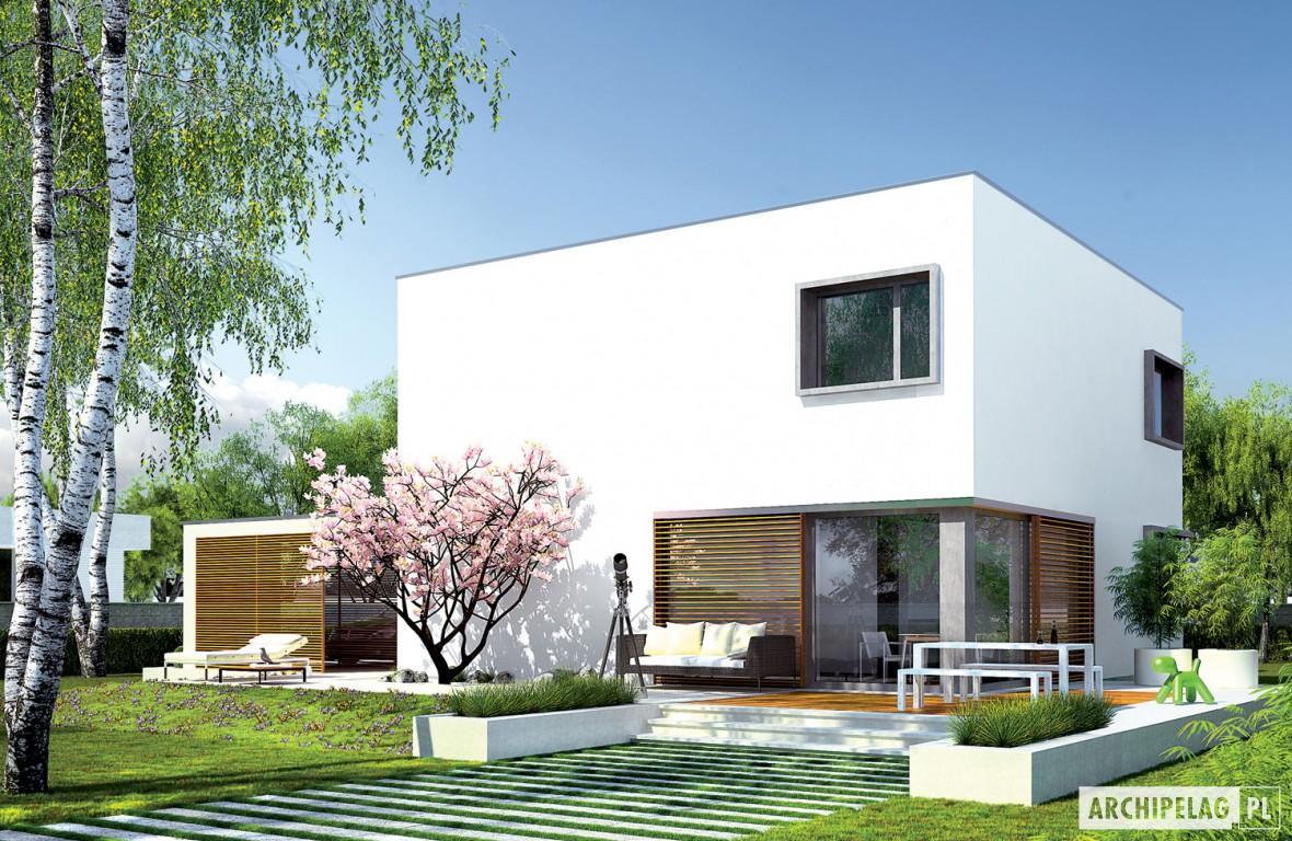 Projekt domu ex 10 z wiatą wizualizacja ogrodowa