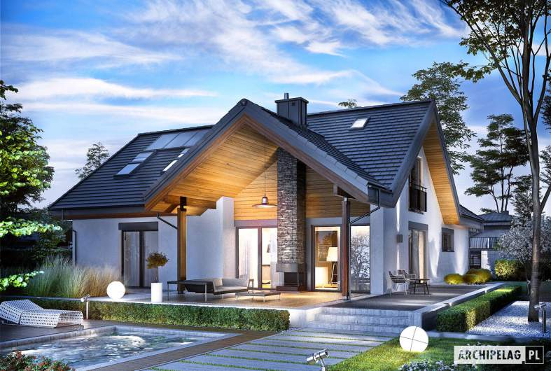Projekt domu Simon II G2 - Projekty domów ARCHIPELAG - Simon II G2 - wizualizacja ogrodowa nocna