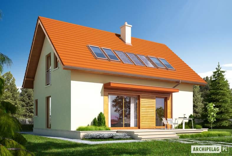 Projekt domu E1 ECONOMIC (wersja B) - wizualizacja ogrodowa lewa
