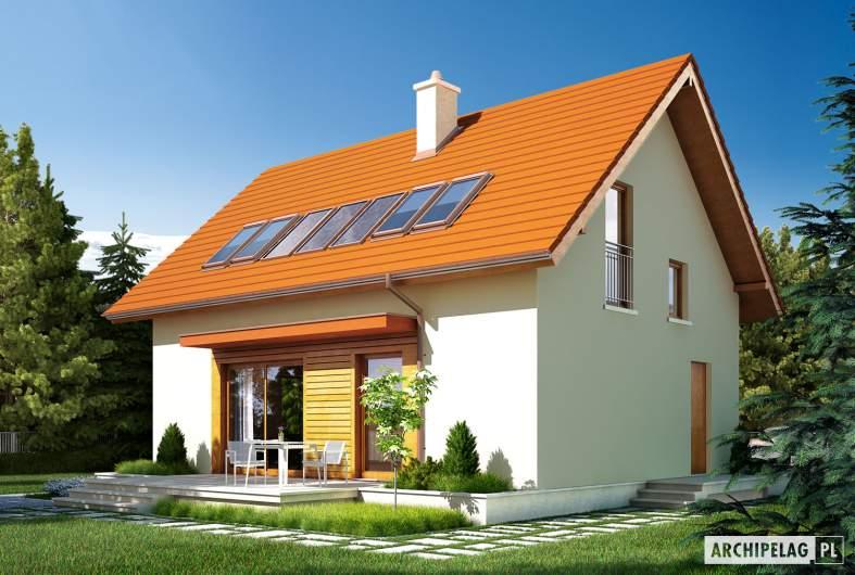 Projekt domu E1 ECONOMIC (wersja B) - wizualizacja ogrodowa
