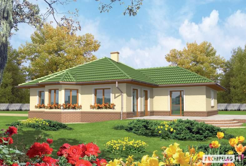 Projekt domu Arwena G1 - Projekty domów ARCHIPELAG - Arwena G1 - wizualizacja ogrodowa