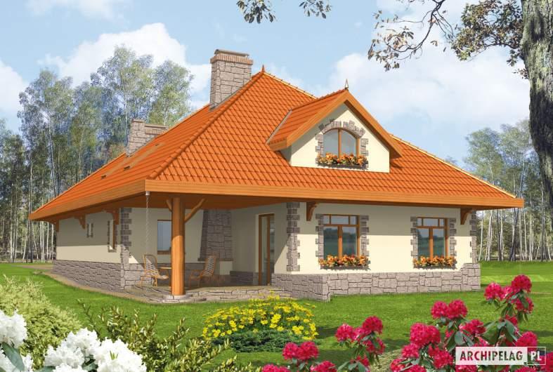 Projekt domu Sława G1 - wizualizacja ogrodowa