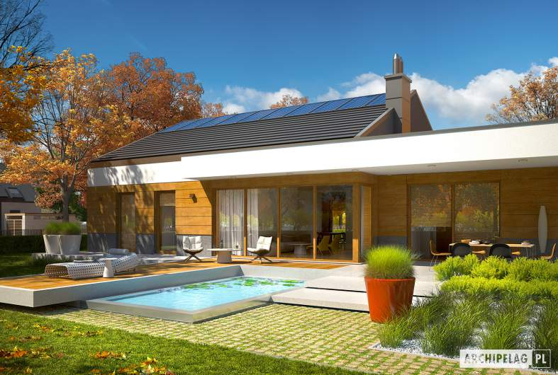 Projekt domu EX 11 G2 (wersja D) soft - wizualizacja ogrodowa