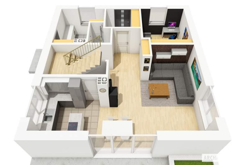 Projekt domu Daga - rzut parteru 3D