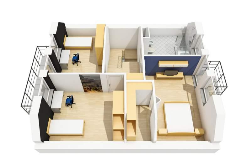 Projekt domu Daga - rzut poddasza 3D