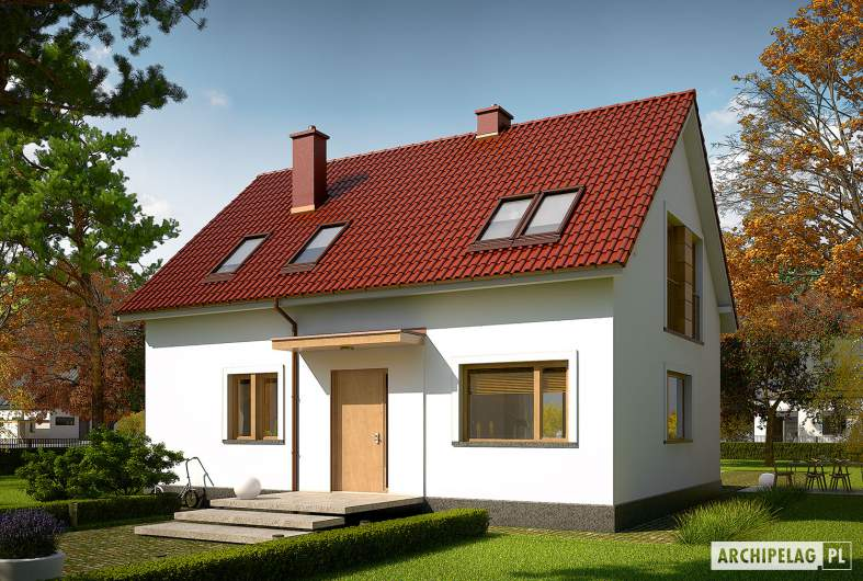 Projekt domu E12 II ECONOMIC - wizualizacja frontowa