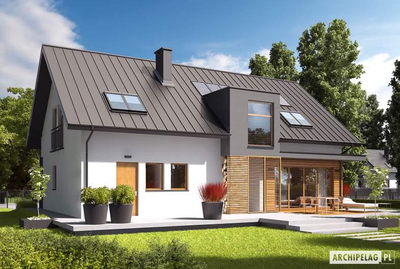 Projekt domu E6 G1 ECONOMIC (wersja A) - wizualizacja ogrodowa lewa