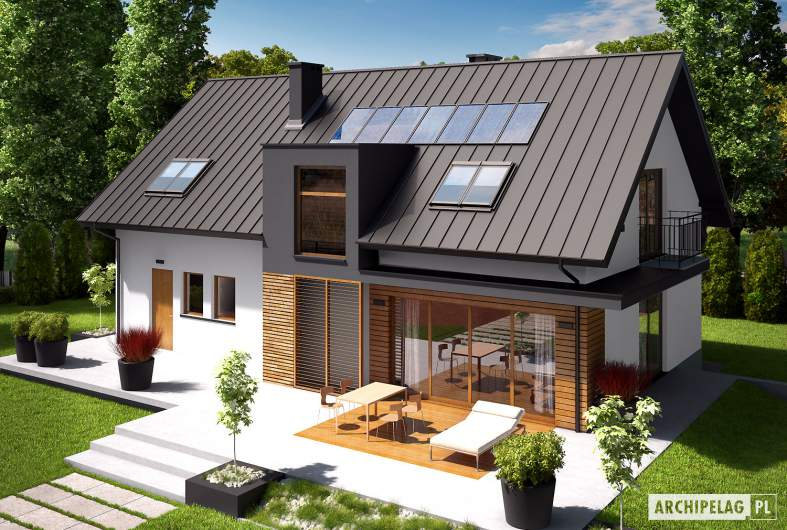 Projekt domu E6 G1 ECONOMIC (wersja A) - widok z góry