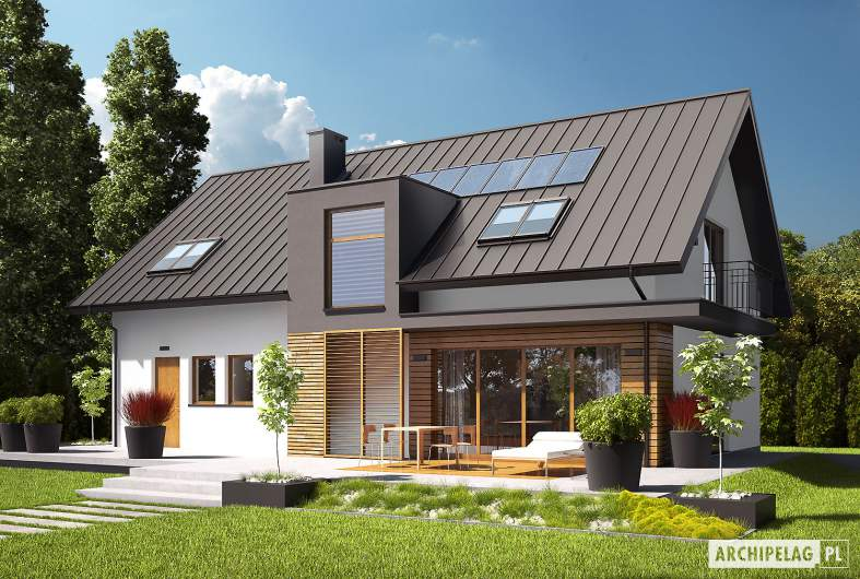Projekt domu E6 G1 ECONOMIC (wersja A) - wizualizacja ogrodowa